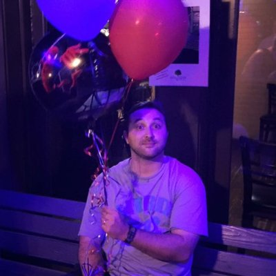 Nick on brand with the Nerd901 shirt and Spider-Man ballon,