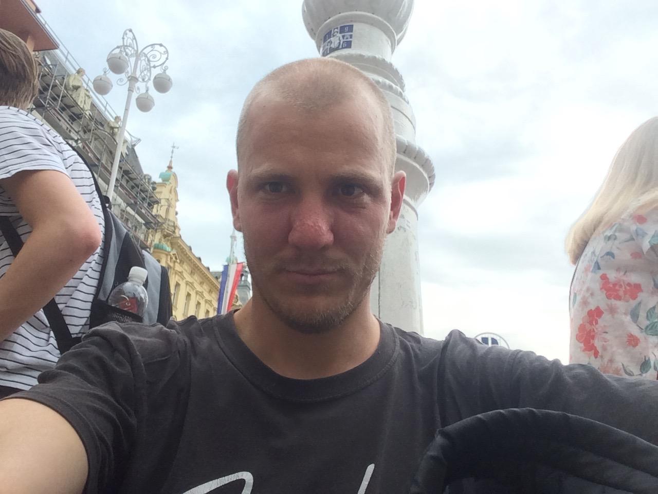 Ban Jelačić Square in Zagreb w/ new haircut.