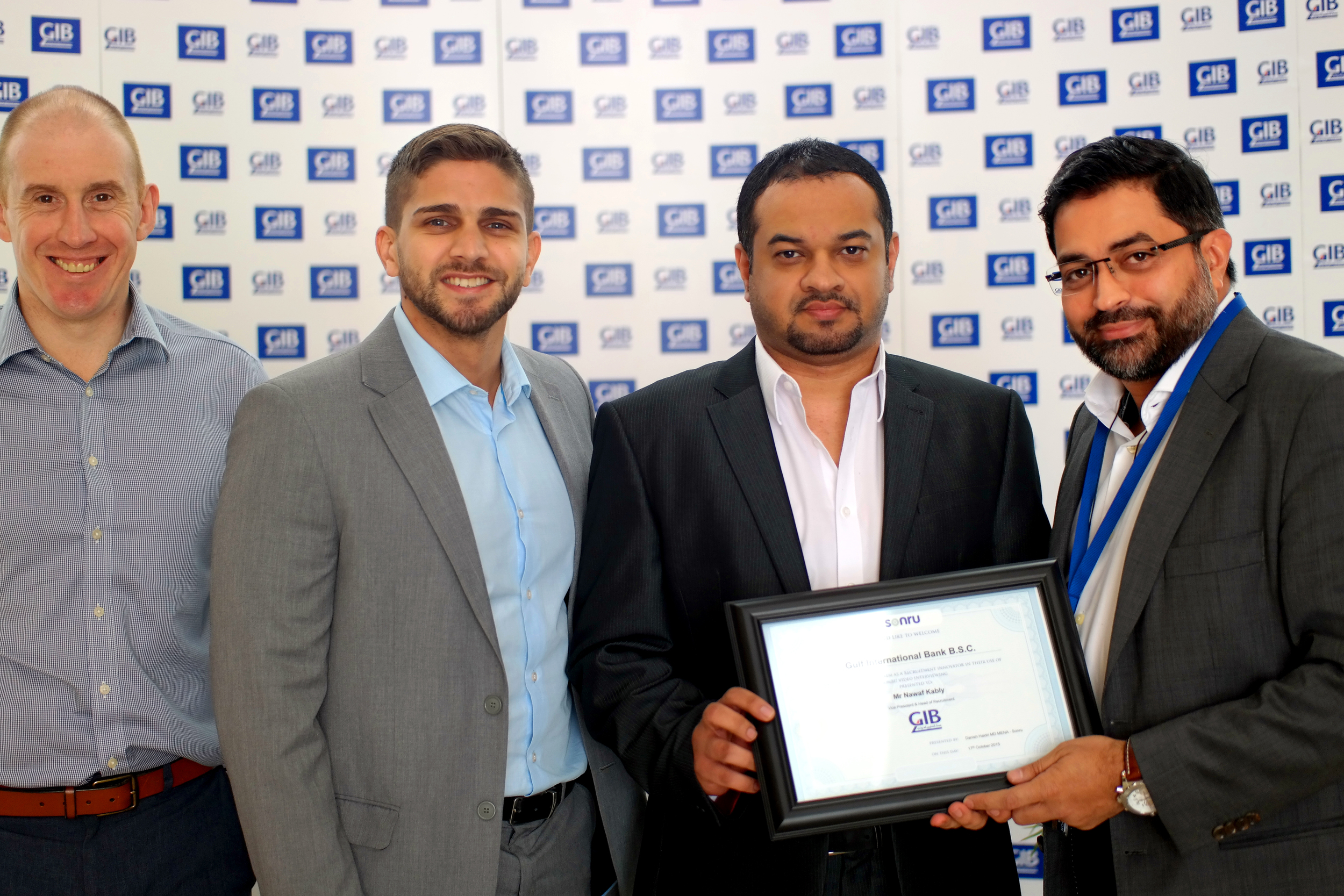 Mr Nawaf Kably - Vice President - Head of Recruitment & Staff Benefits Administration, Human Resources with his team receiving the Sonru Recruitment Innovator Certificate from Danish Haidri MD MENA @ Sonru & Hamilton Resourcing.