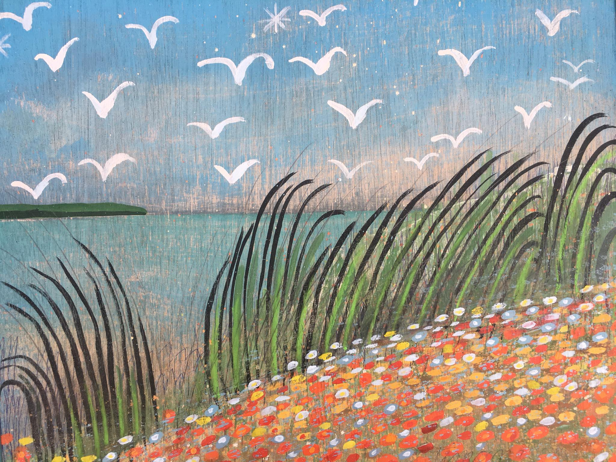 "PERFECT SUMMER DAY, WITH SEA GRASS, SEA GULLS, SUNSHINE AND FLOWERS"" 2018   FOR THE FEATHERSTONE CENTER FOR THE ARTS, MARTHA'S VINEYARD, MASSACHUSETTS (SOLD)"