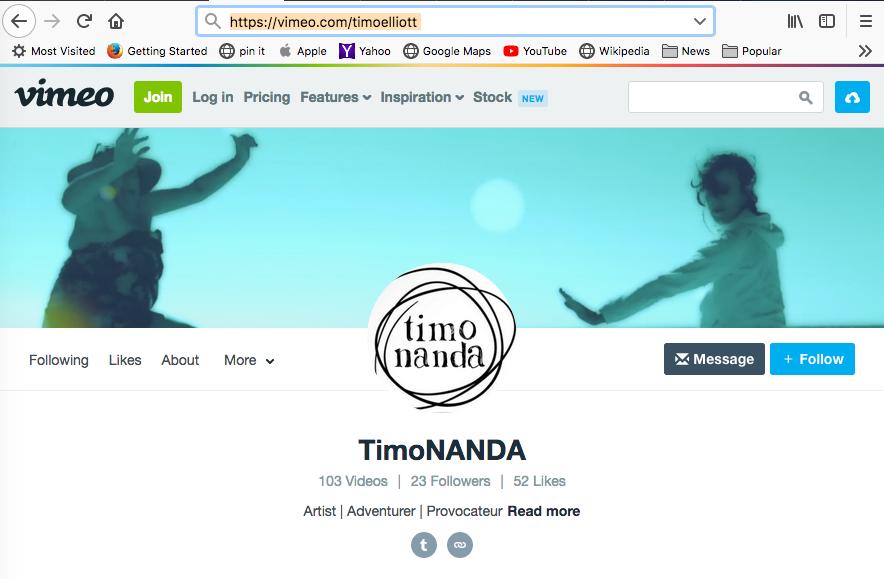TIMONANDA'S FILMS CAN BE SEEN AT https://vimeo.com/timoelliott