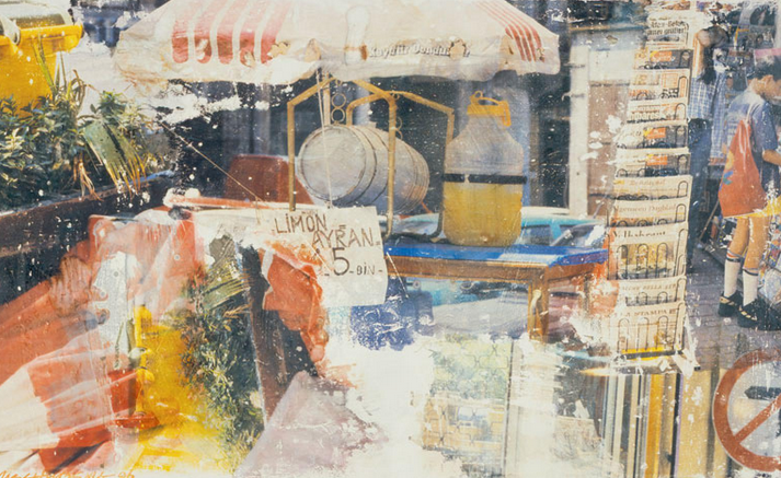 Robert Rauschenberg's ' Party Line (Arcadian Retreat)',  1996, fresco, artist's frame