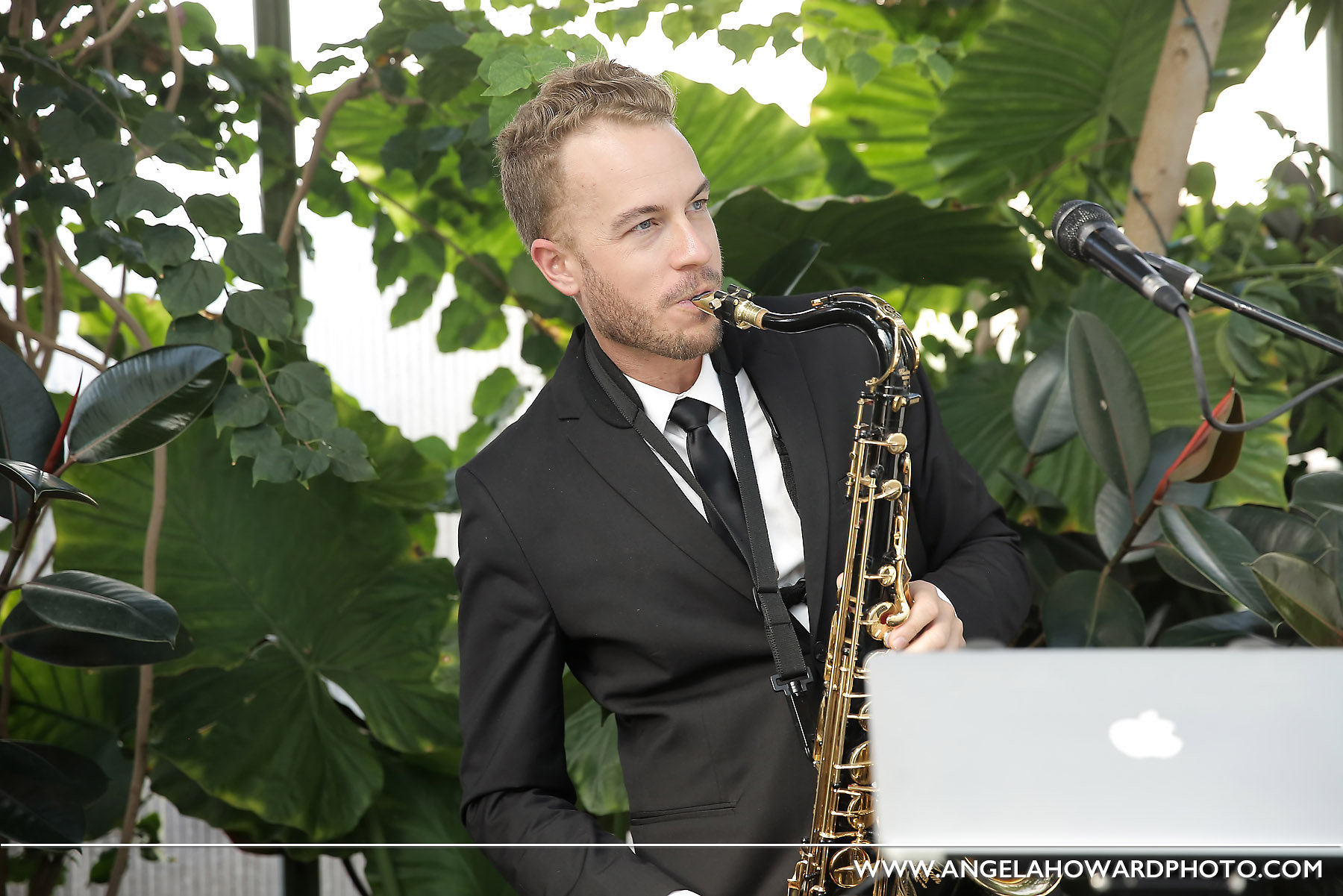 Rob on the sax. @utahbridemag #UBGWhiteParty Photo credit: Angel Howard Photography
