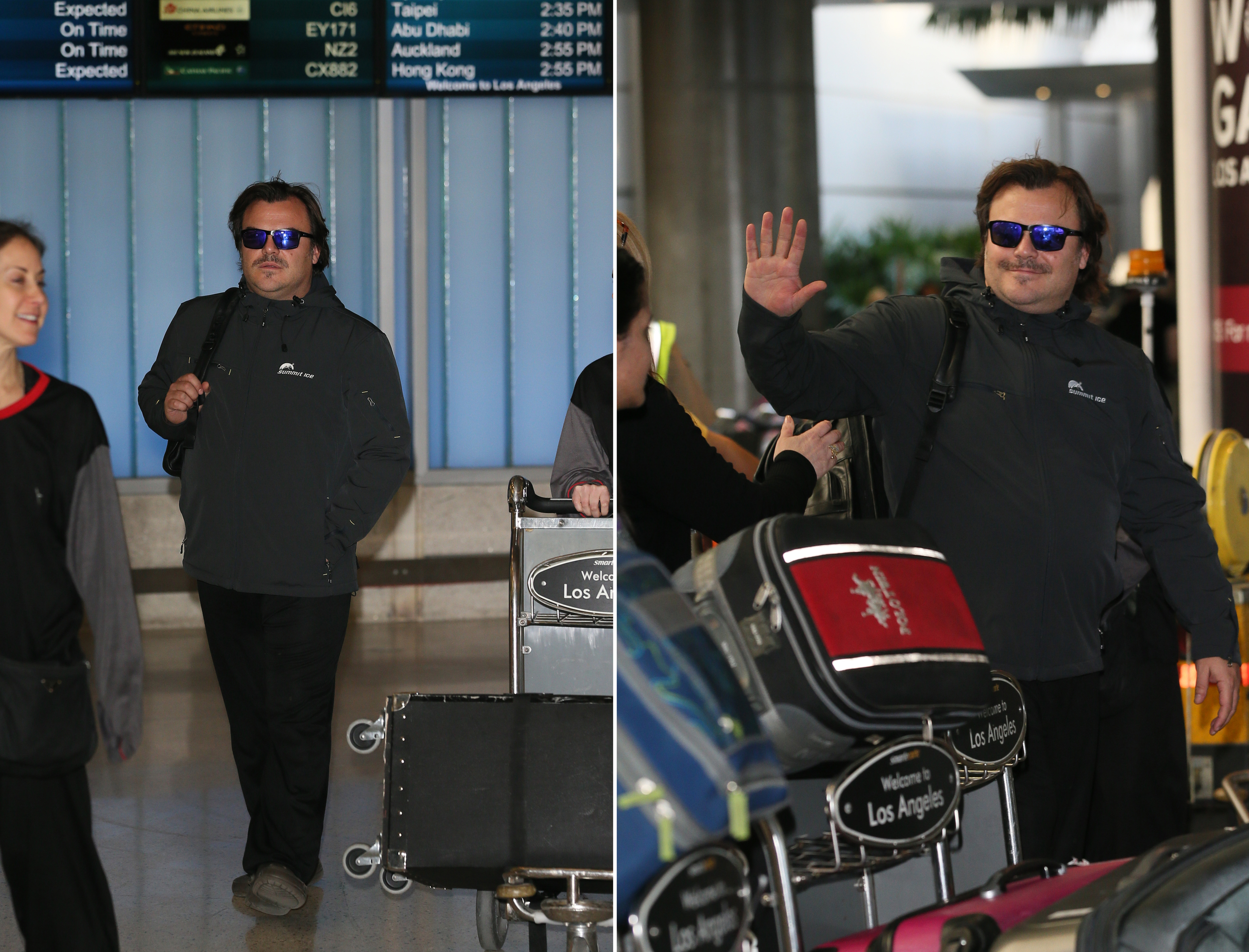Jack Black  arriving at LAX in style with his Summit Ice softshell.