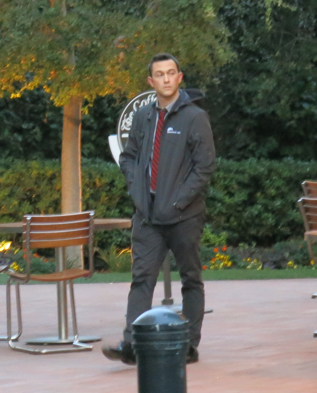 Joseph Gordon-Levitt  spotted outside Coffee Bean wearing the original Summit Ice softshell.