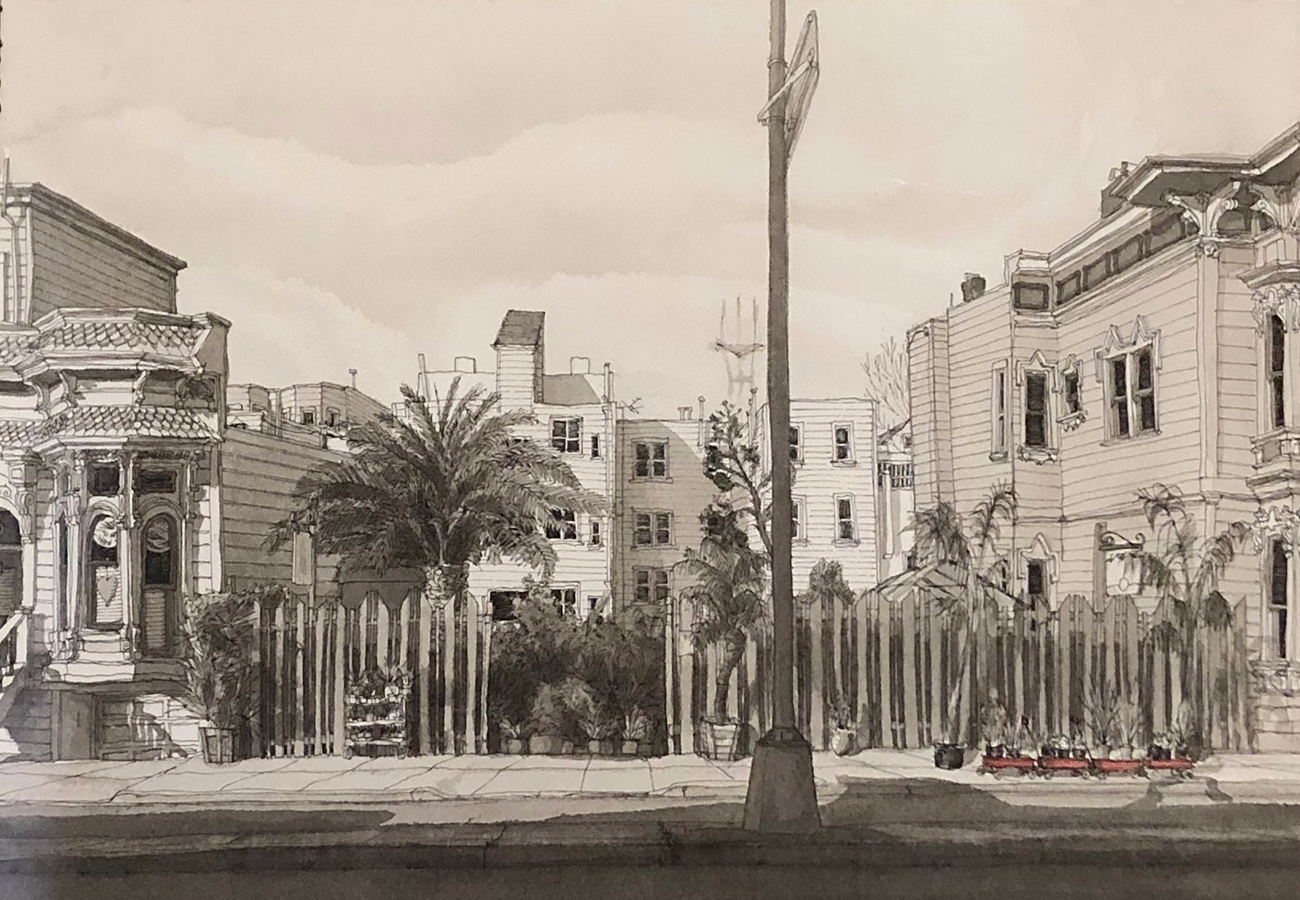 Flora Grubb Gardens - A Drawing by Paul Madonna of the Nursery on Guerrero Street.png