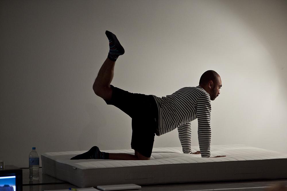 Sarah Goffman, Oki-do Yoga, 2013, with Brian Fuata, Workout, curator Anna Davis, Museum of Contemporary Art, Sydney