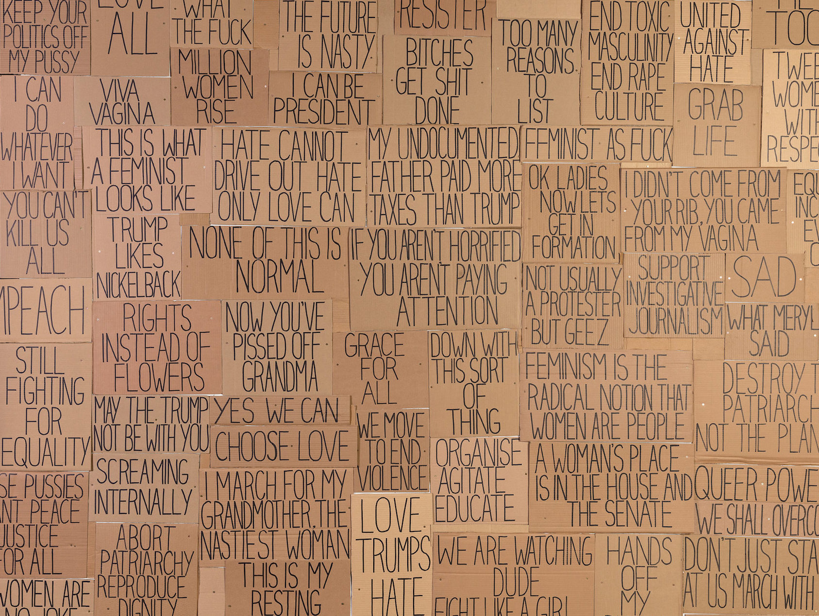 Sarah Goffman, I am with you 2017 (detail), Unfinished Business: Perspectives on art and feminism, 2017, Australian Centre for Contemporary Art, Melbourne