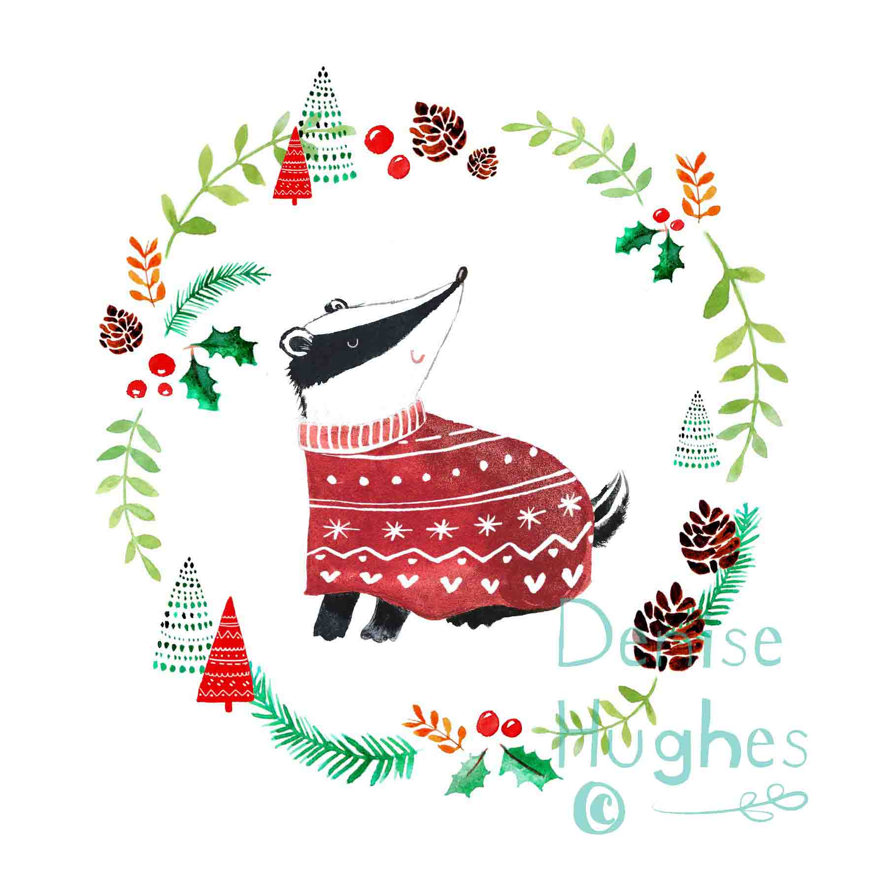 Woodland Christmas badger.jpg