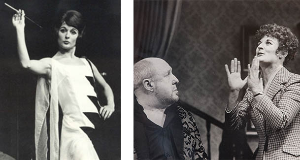 Judy on stage in 'On Approval' (England circa 1970, left) and  'The Man who came to Dinner' (right)