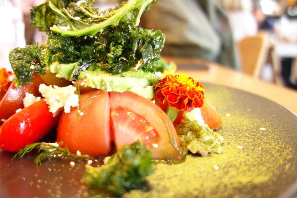 Roma Tomatoes & Kale with Avocado, Pesto & Goats Feta
