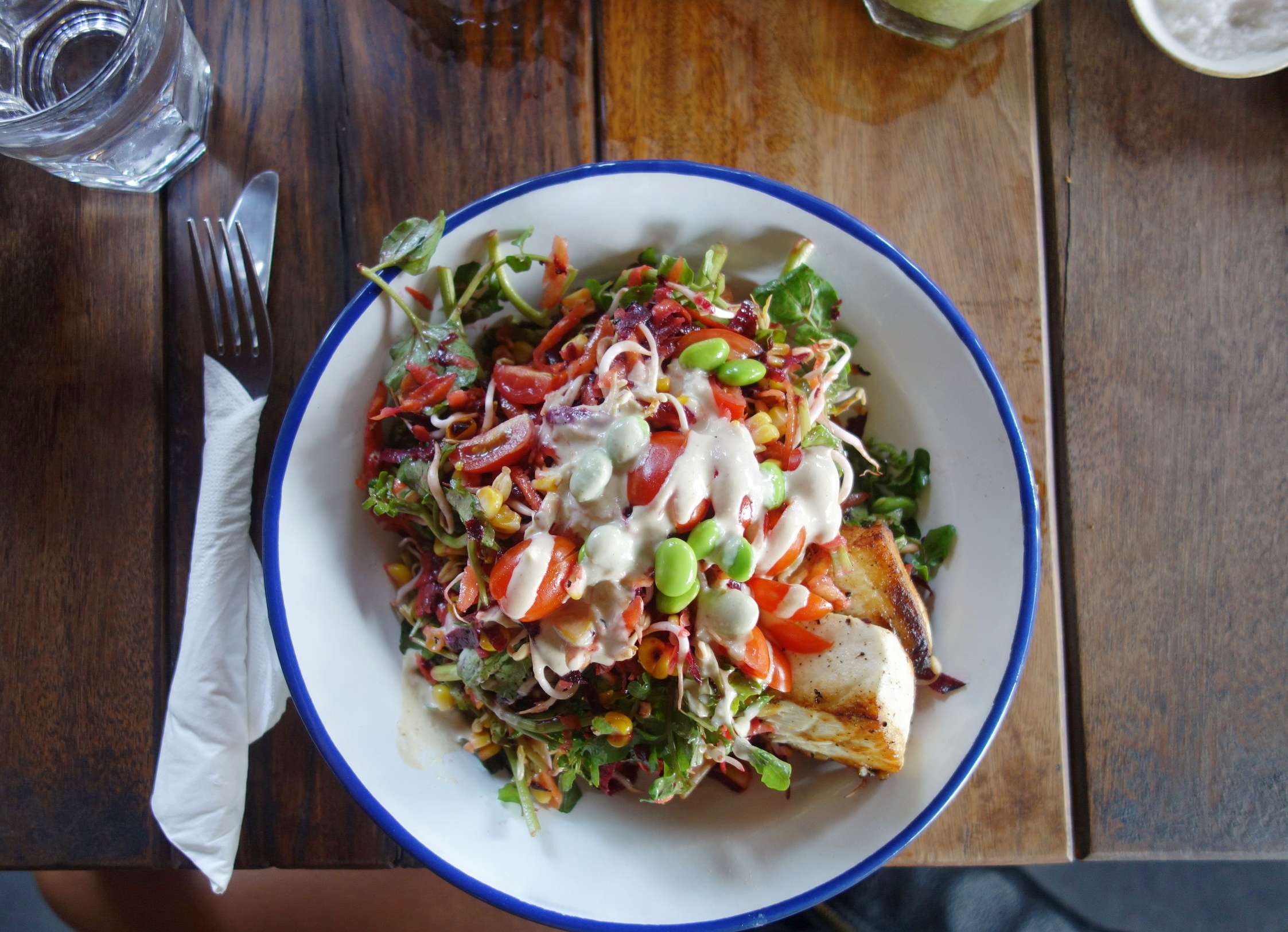 Beetroot, Carrot, Tomato & Green Salad with Barramundi & Tahini Dressing