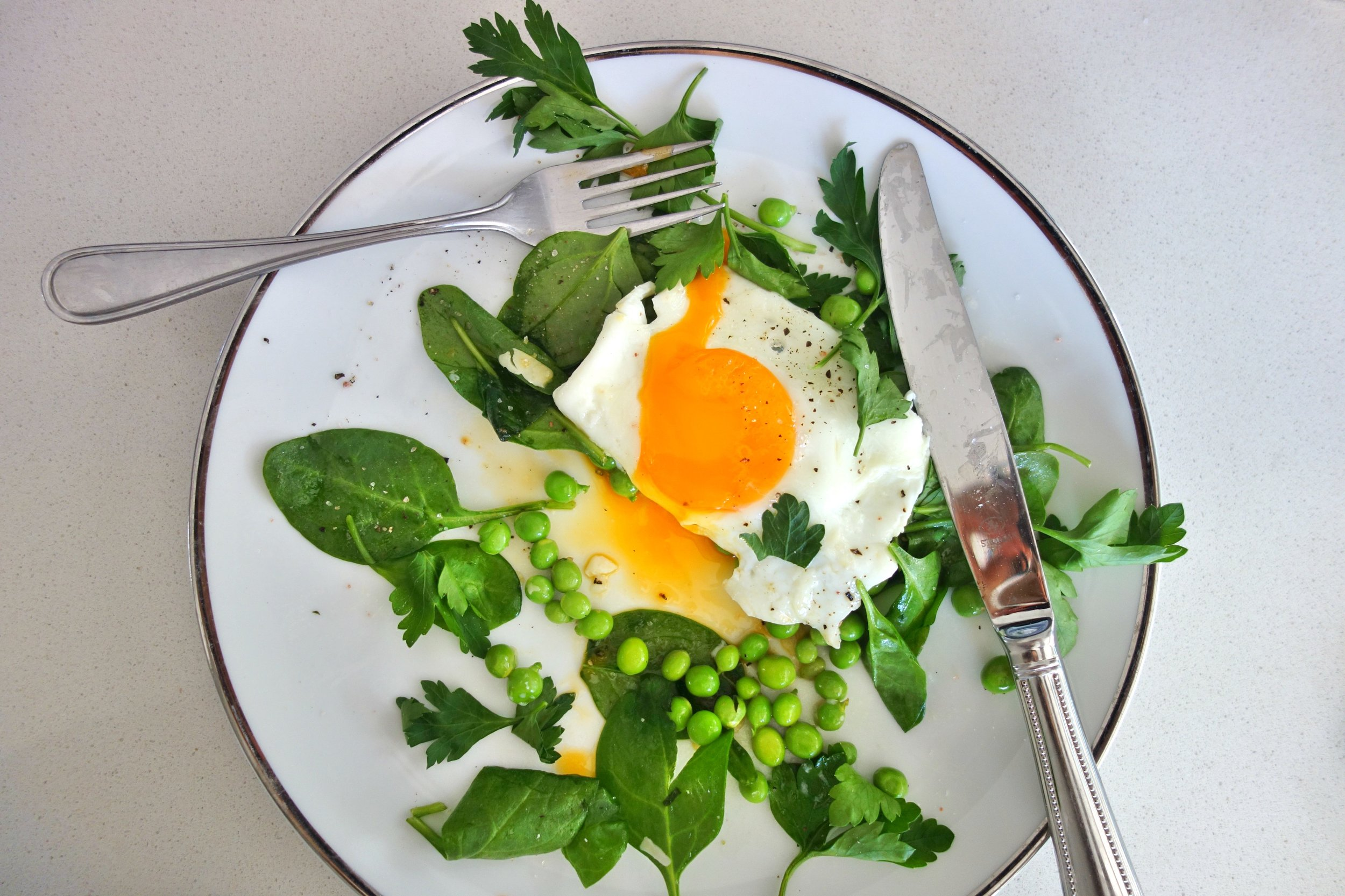 Eggs with Baby Peas & Spinach
