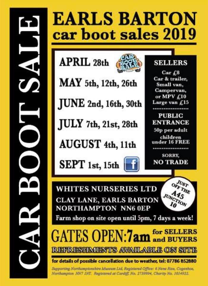 Earls Barton Car Boot Sales 2019