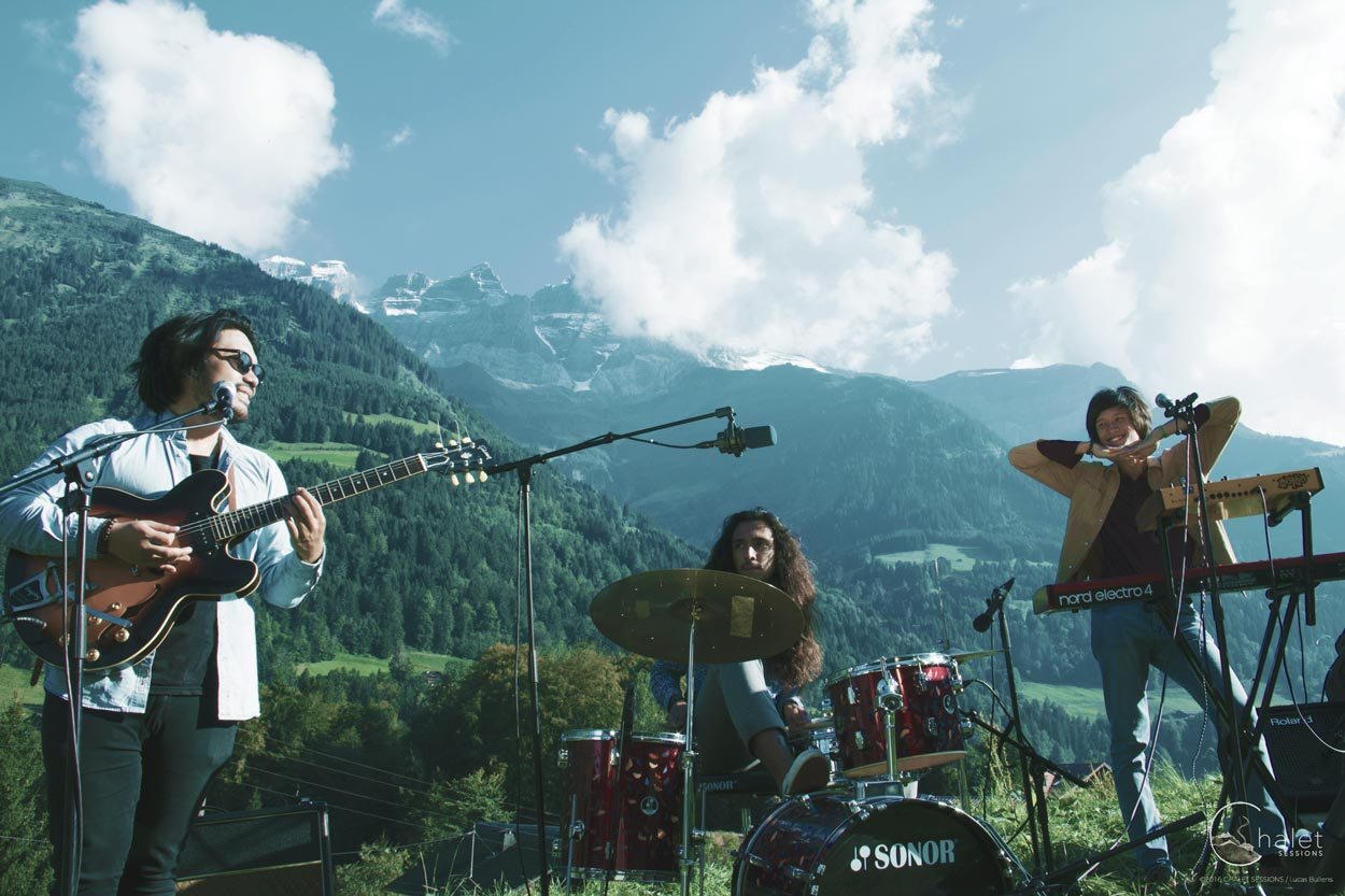 "Cosmic Fields Session - band in front of ""Dents du Midi"" mountains"