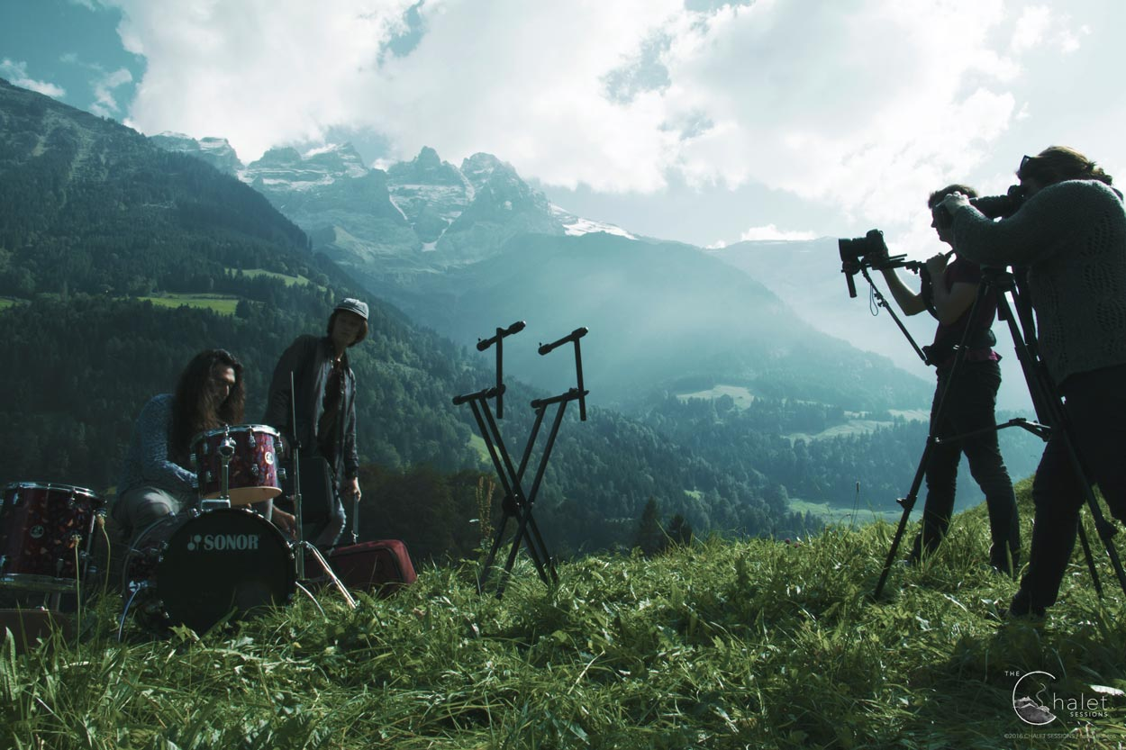 "Cosmic Fields Session - filming beneath the ""Dents du Midi"" mountains"