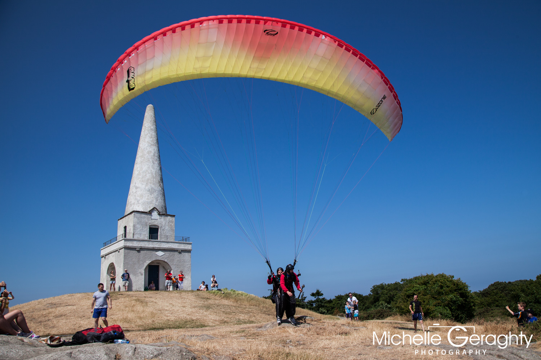 Paragliding on Killiney Hill, Co. Dublin, Ireland