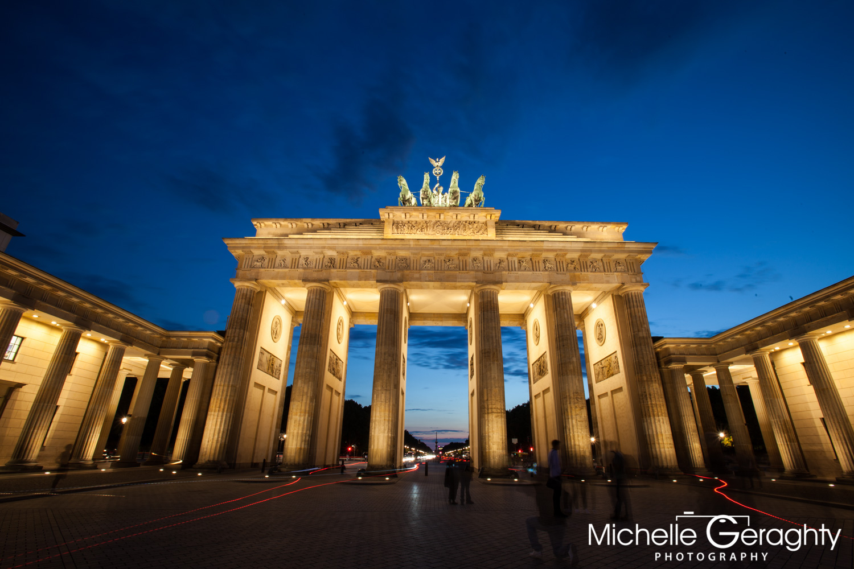 Night falls over Brandenburg Gate, Berlin, Germany
