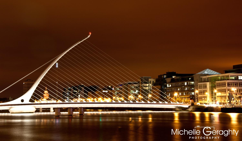Sunset over Samuel Beckett Bridge, Dublin, Ireland