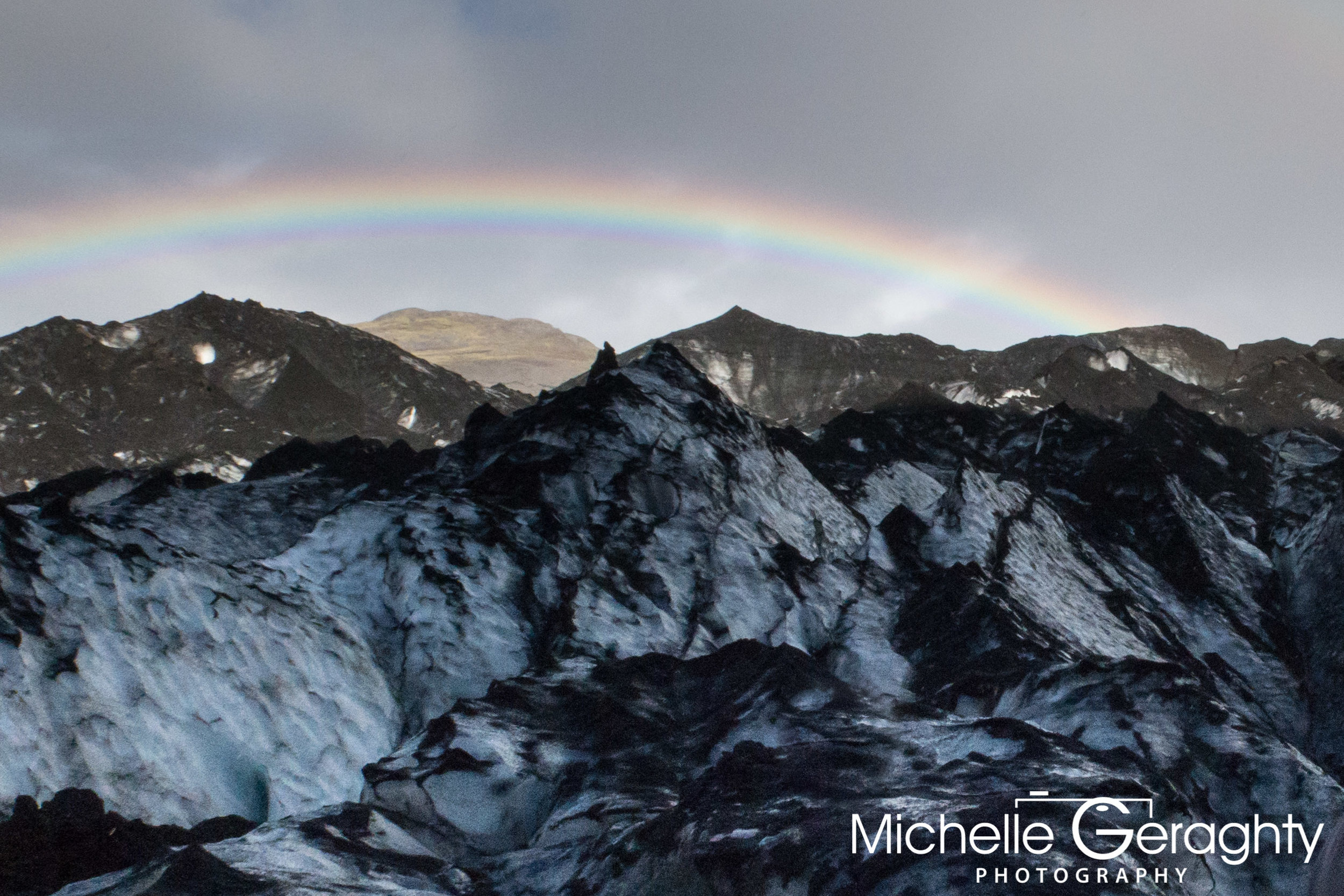 Rainbow over Mýrdalsjökull Glacier, Iceland