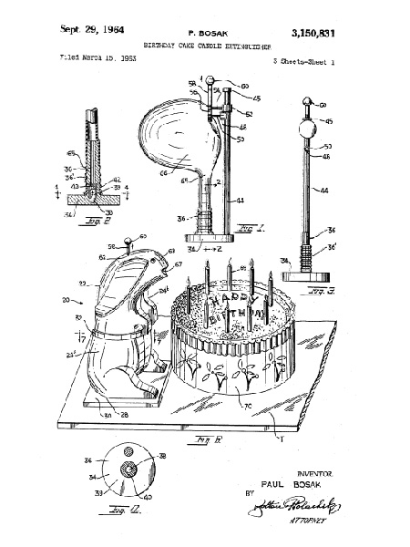 """Patent for """"Birthday Cake Candle Extinguisher."""""""