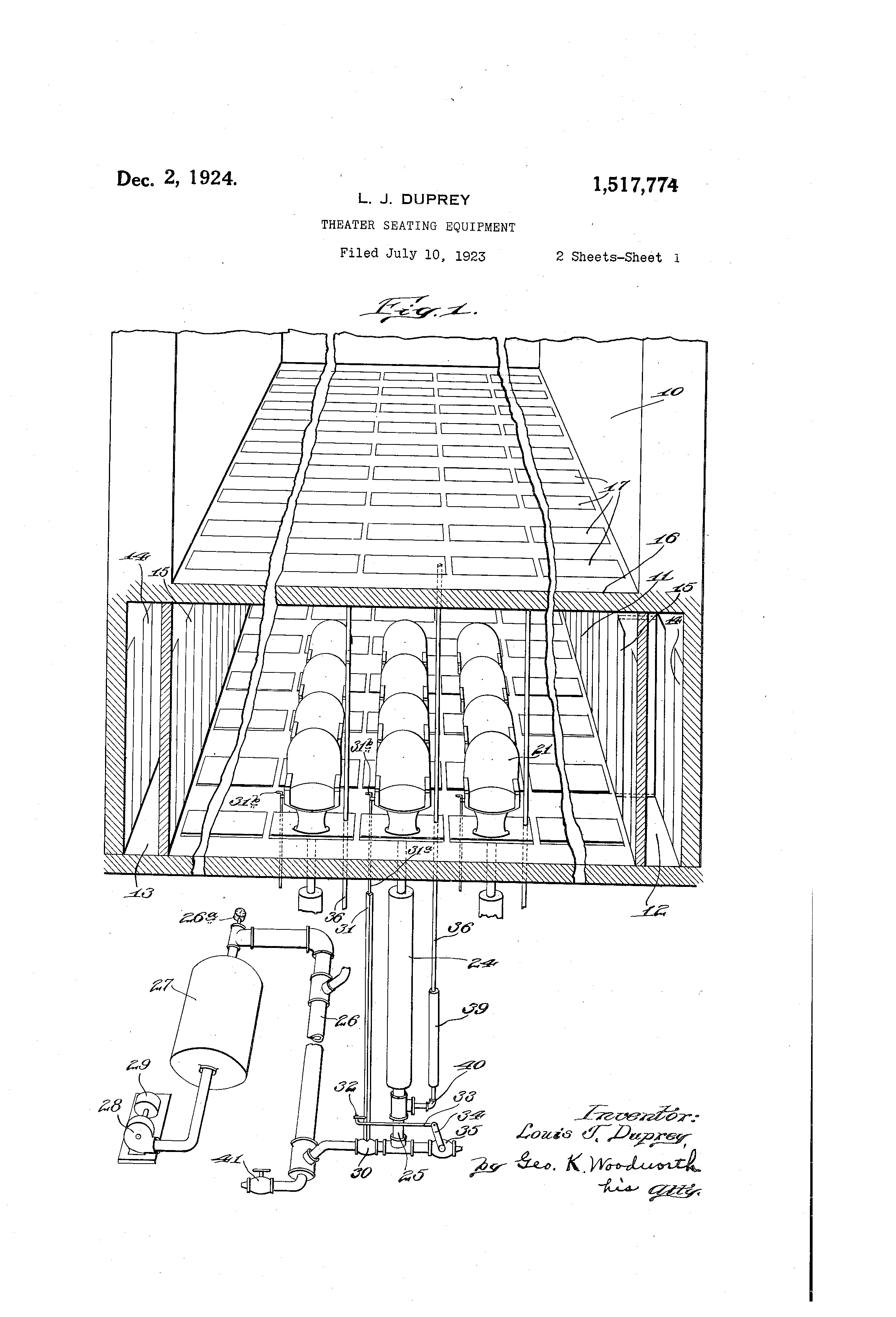 """Theater Seating Equipment"" Patent."
