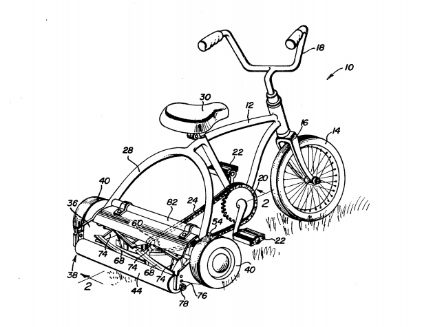 Patent Illustration for a tricycle with built in lawnmower.