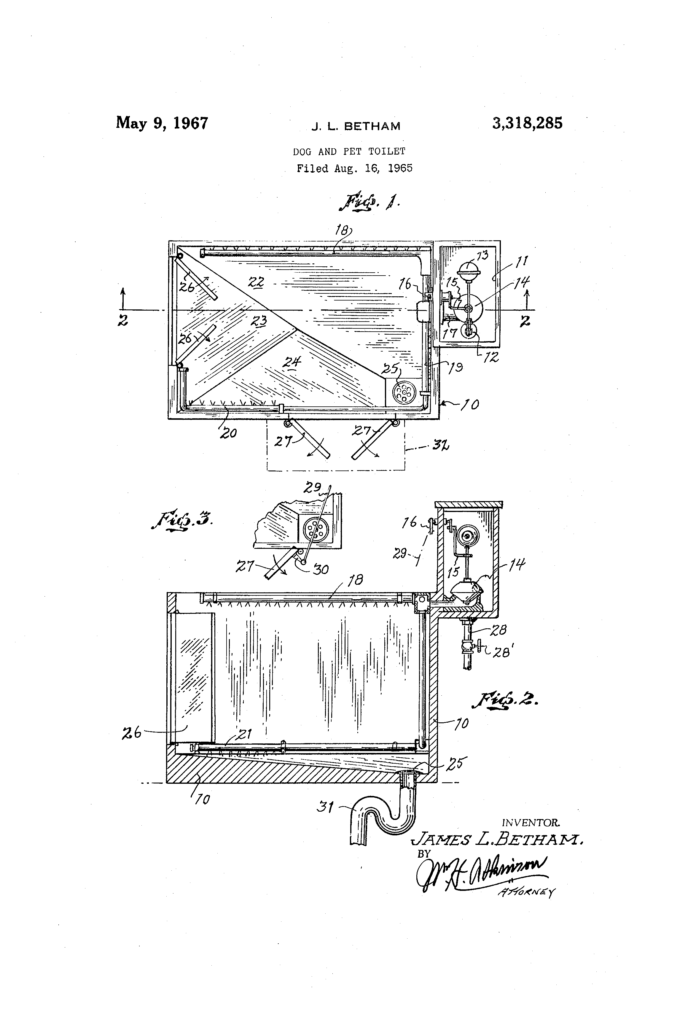 "Patent illustration for a ""dog and pet toilet."""