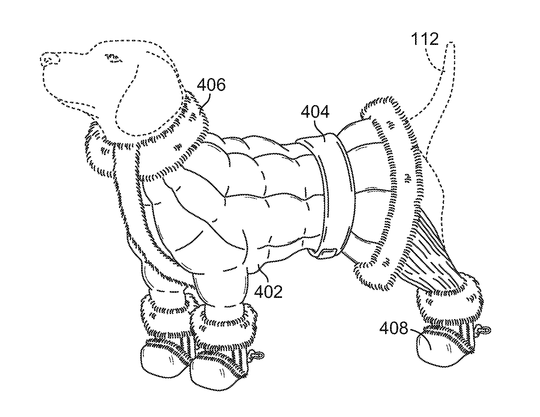"Patent illustration for an ""all-in-one pet garment."""