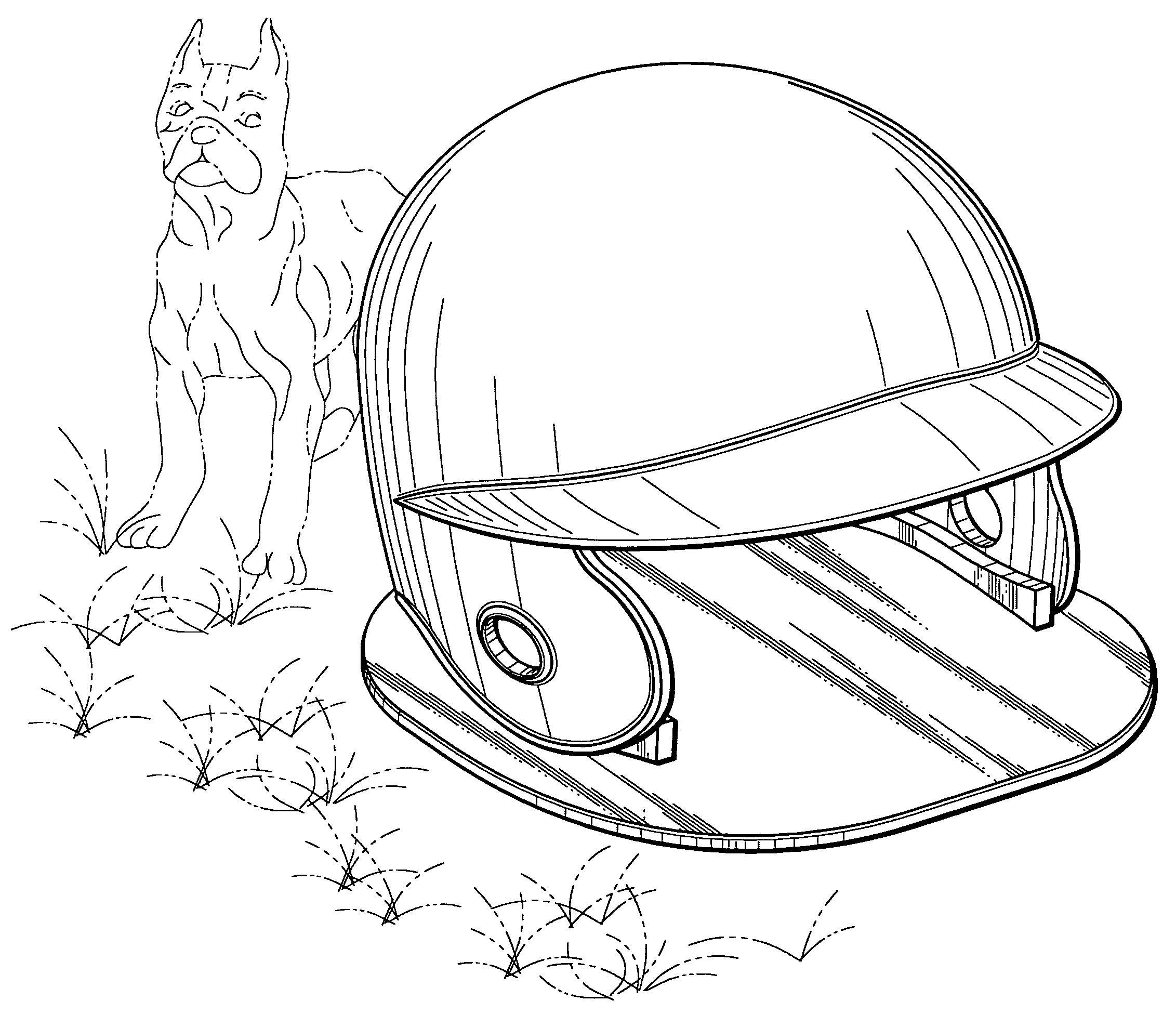 "Patent illustration for a ""baseball helmet dog house."""