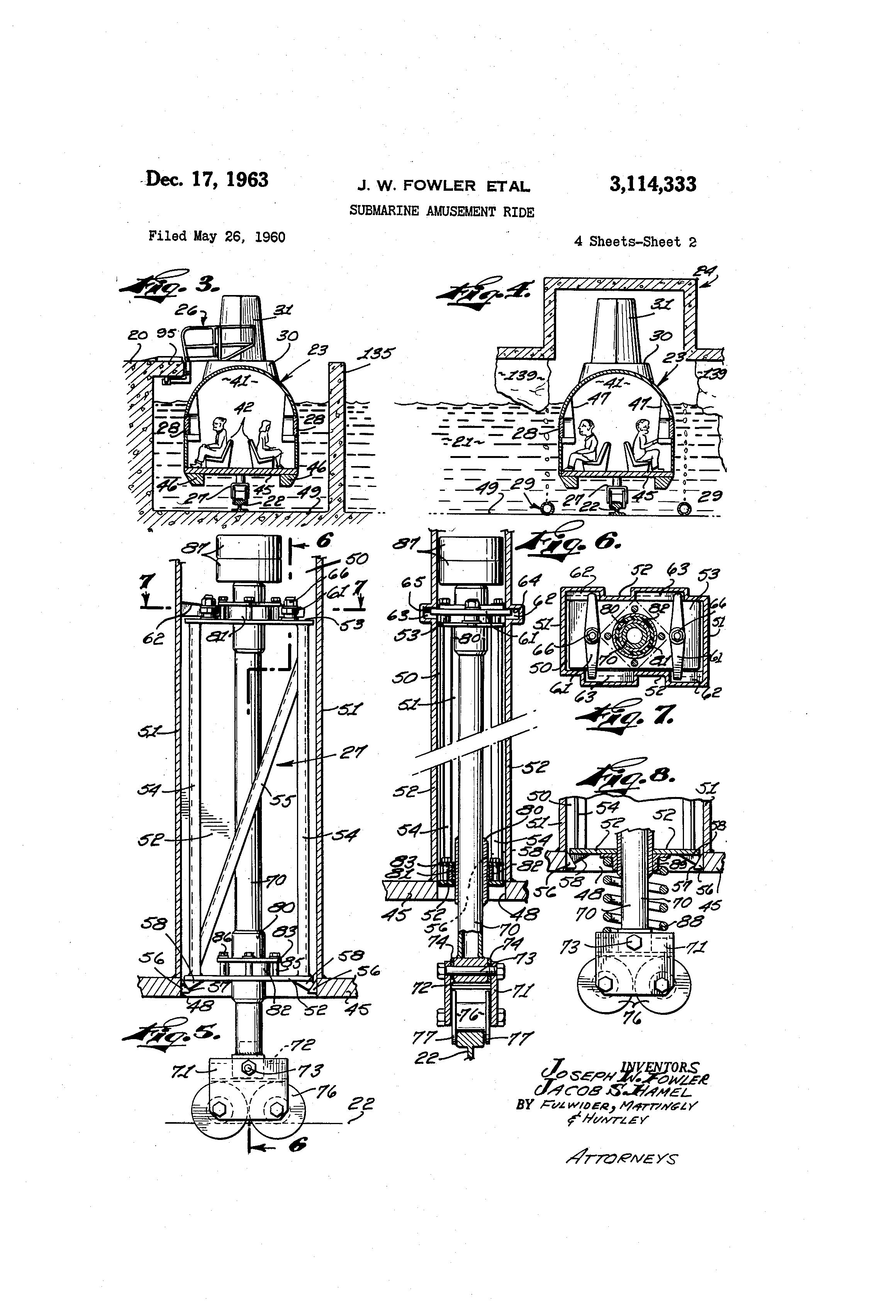 Submarine Amusement Ride Patent Illustration from  Google Patents.