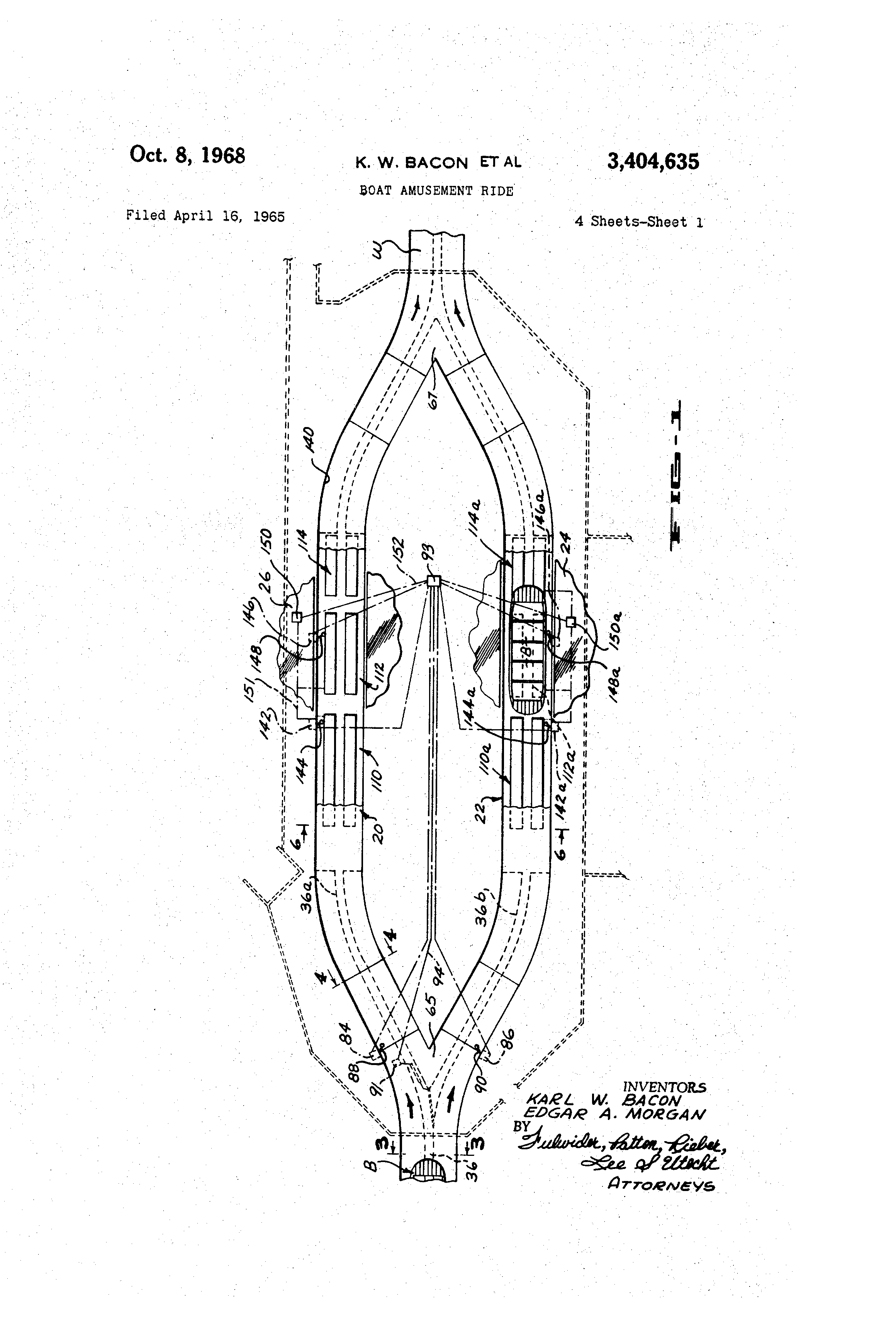 Boat Amusement Ride Patent Illustration from  Google Patents.