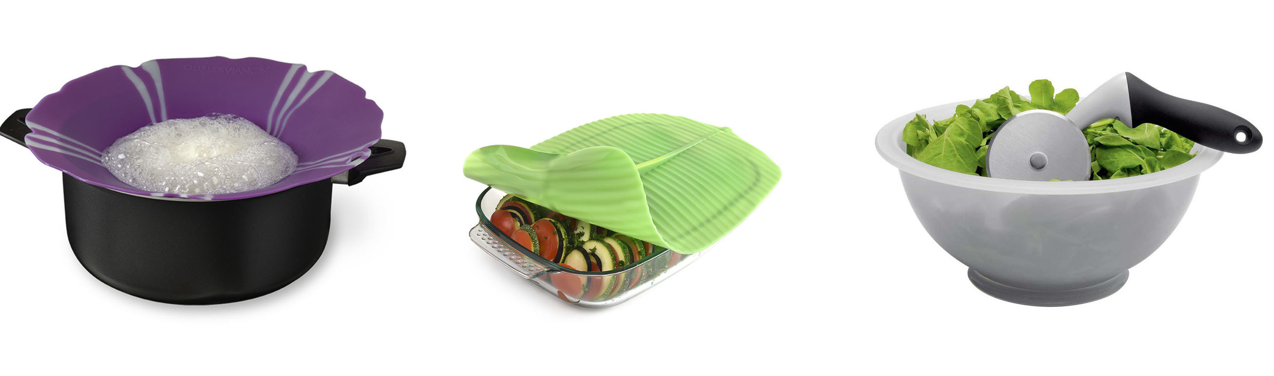 Over boil ring, silicone lid, in-bowl salad chopper