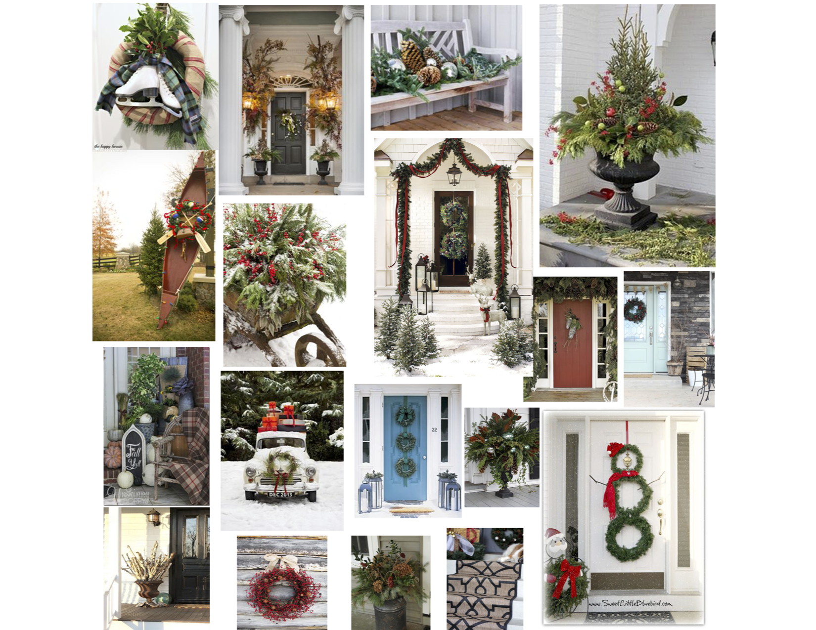 I created this collage of images as inspiration for decorating a front porch.  A lot of these ideas can be used   anywhere inside   your home too!