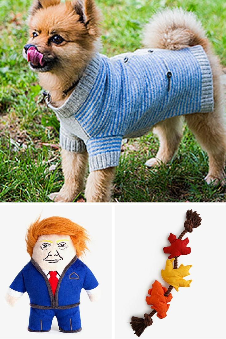 Puppy cardigan, leaf toy, Dognald toy
