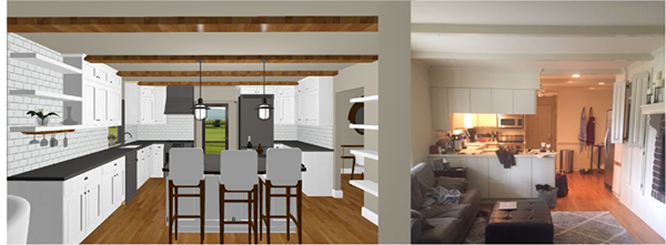 Drawings of a kitchen remodel (left) and before pic (right)