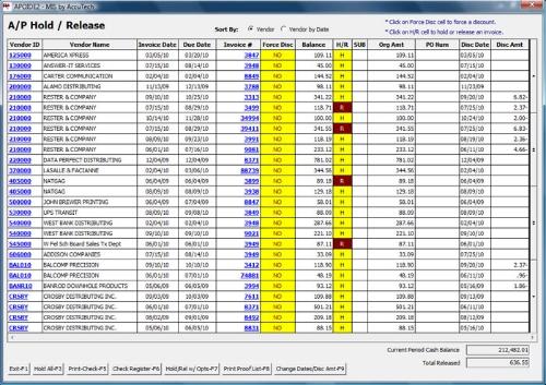 MIS Accounts Payable system