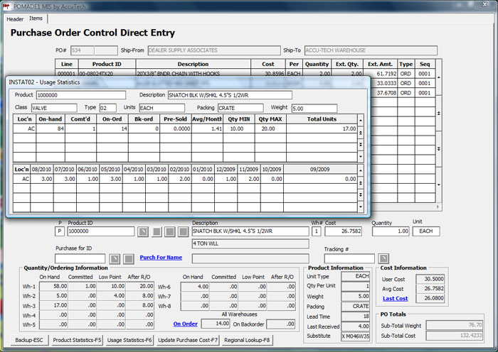 MIS Purchase Order module