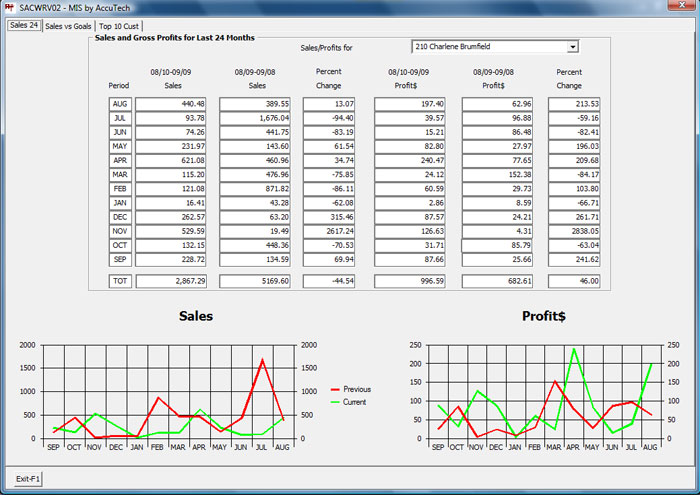 Visual Salesperson Statistics
