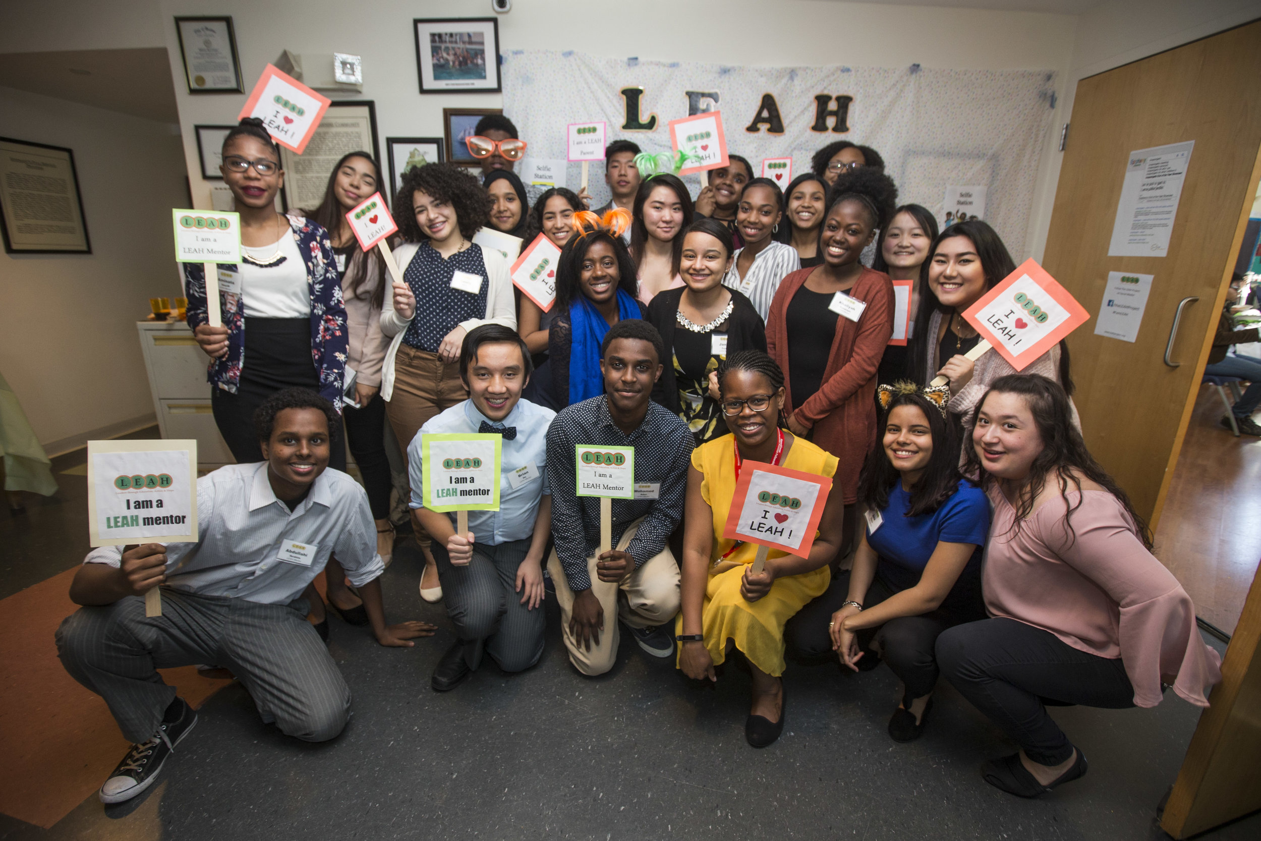 PHOTO: LEAH Mentors, Boston Public High School students, at the LEAH Project's End of Year Graduation Celebration June 2017 (photo by Scott Eisen)