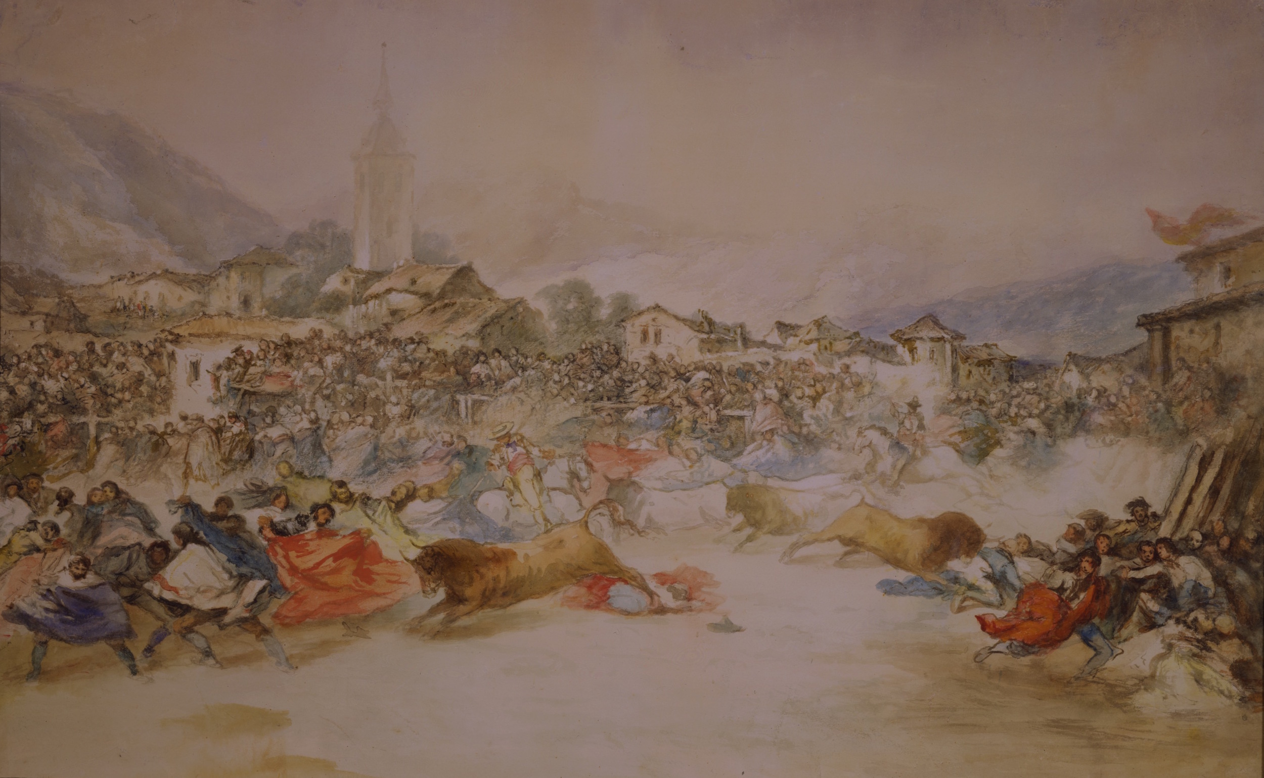 Eugenio Lucas y Padilla – Running the Bulls in the Main Square of a Spanish Village