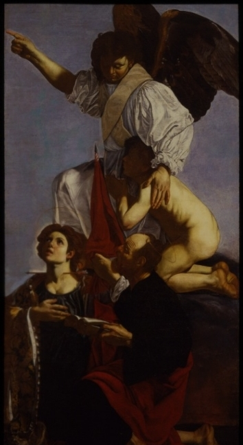 Cecco del Caravaggio, Guardian Angel Rescuing a Soul from Purgatory with Two Saints. Museo del Prado.