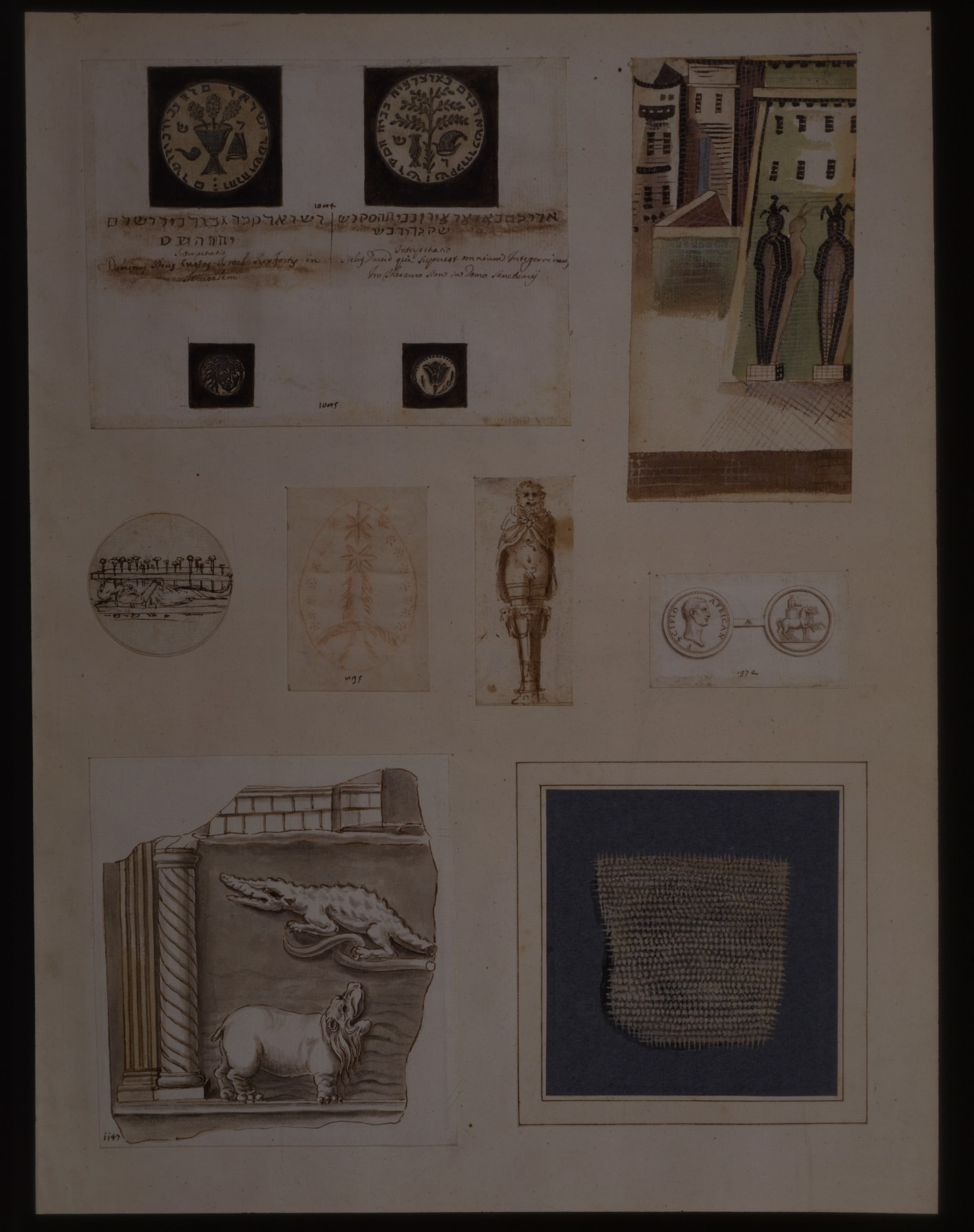 Cassiano dal Pozzo Collection – A Study After the Palestrina Mosaic: Two Mummies Before Buildings