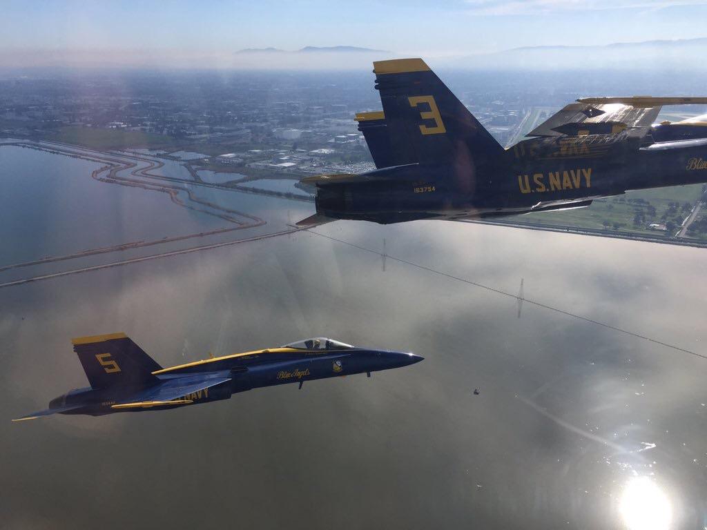 The Blue Angel Delta en route to San Francisco from NAF El Centro. Photo by LCDR Joe Schwartz.