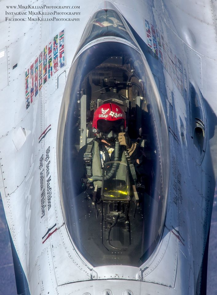 Thunderbird 3, SSgt Sean MacGibbon gives a thumbs up after topping off his F-16 Fighting Falcon en route to Daytona Beach, Florida. Photo courtesy of Mike Killian.