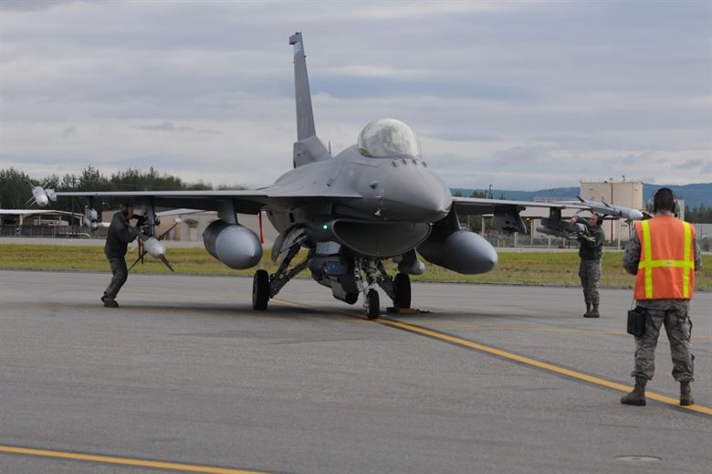 An F-16 from the 148th Fighter Wing prepares for takeoff.