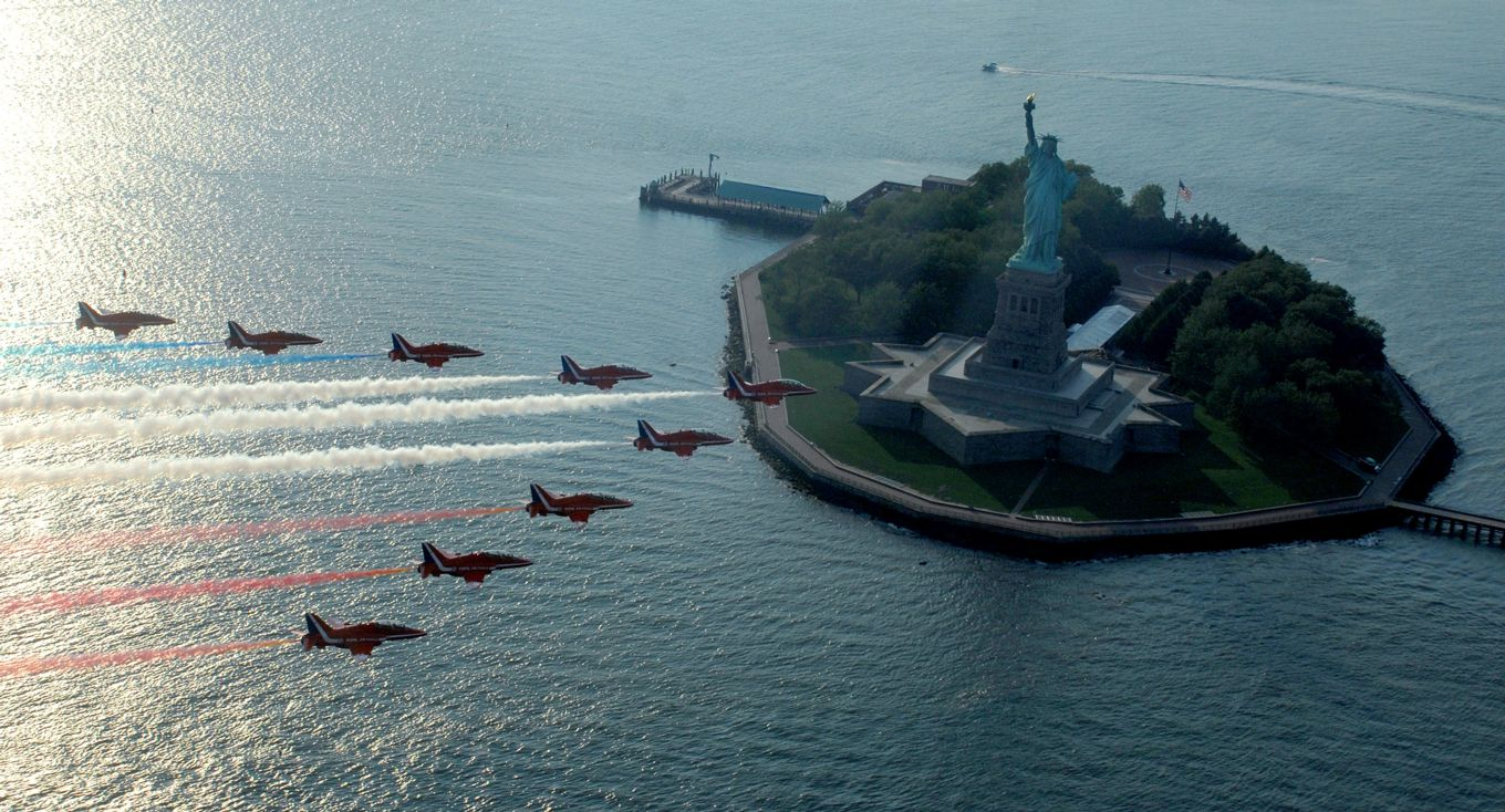 The Red Arrows fly past the Statue of Liberty during their last appearance in America in 2008.