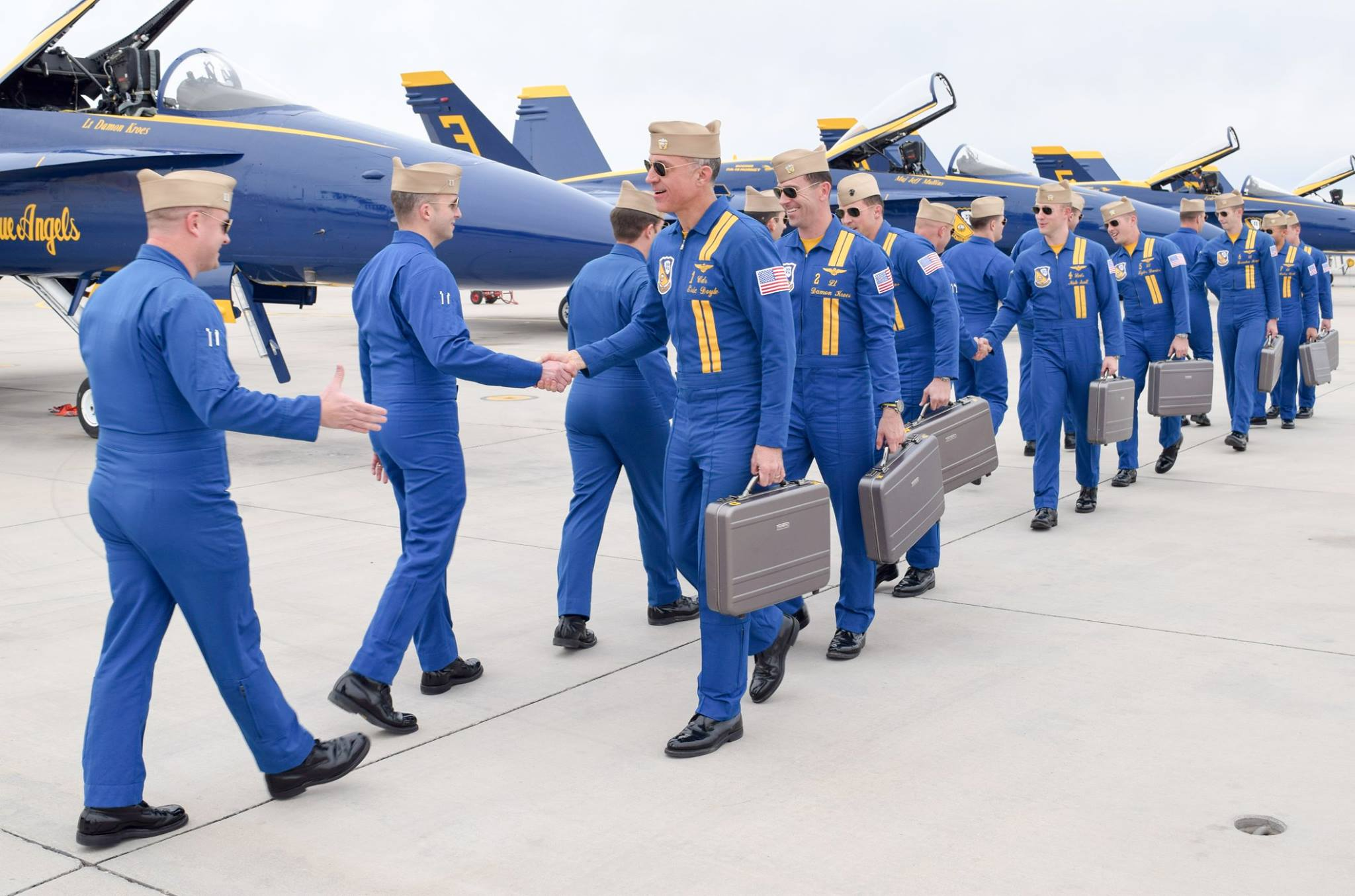 The Blue Angels arrive at NAF El Centro for winter training in January of 2018.