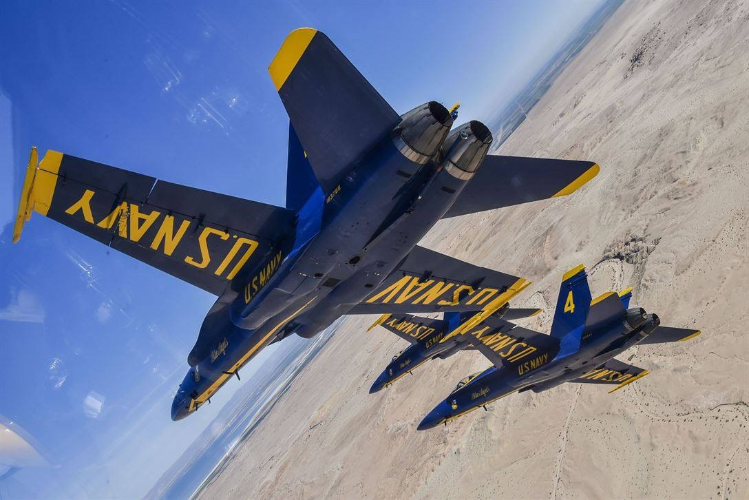 The Blue Angels conduct a winter training flight over the Imperial Valley.