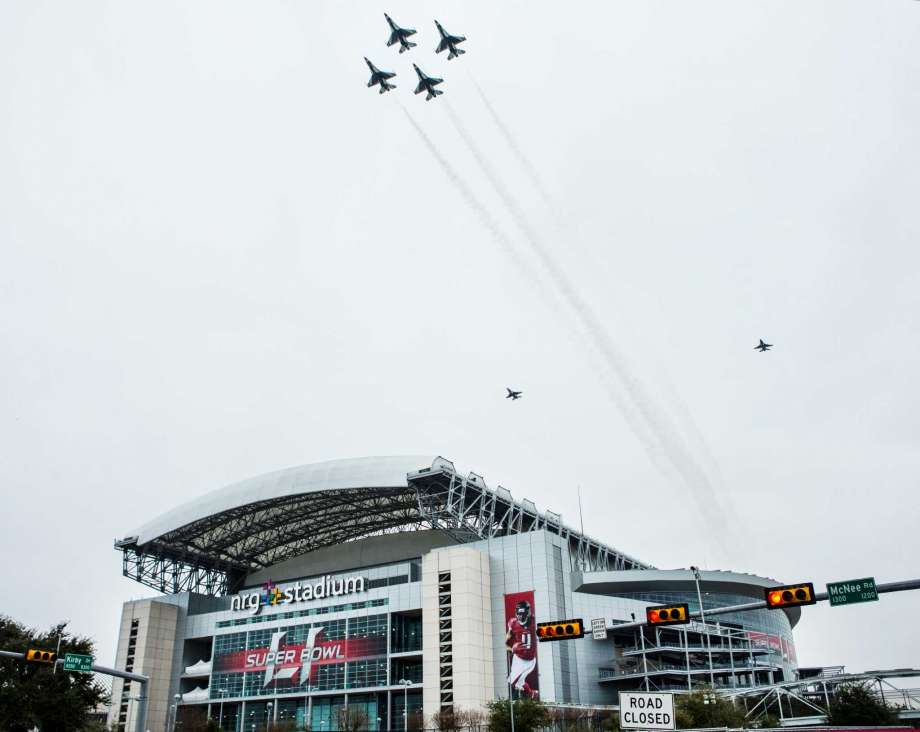 The United States Air Force Thunderbirds conduct a practice flyover above NRG Stadium in Houston, Texas, prior to Super Bowl 51.